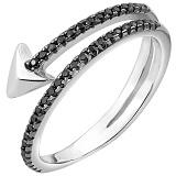 Серебряное кольцо Адриана с чёрным цирконием
