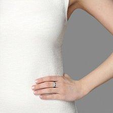 Каучуковое кольцо Лойд в черном цвете с серебряной вставкой