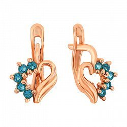 Позолоченные серебряные сережки с голубыми фианитами Любовное послание