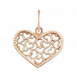 Золотая подвеска Большое сердце