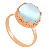 Золотое кольцо Дама с голубым топазом