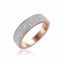 Серебряное кольцо Роксолана с позолотой и фианитами
