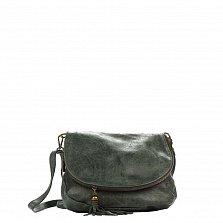 Кожаный клатч Genuine Leather 1613 приглушенного зеленого цвета с дополнительным карманом на клапане