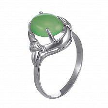 Серебряное кольцо Мортиата с узорами, хризопразом и фианитами