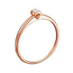 Кольцо в красном золоте с бриллиантом 000104140