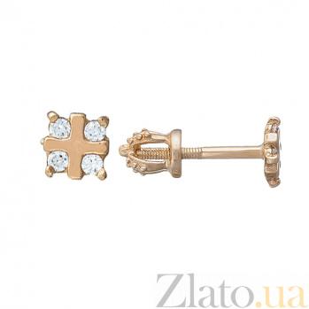 Золотые серьги с фианитами Адель LEL--80072