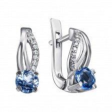 Серебряные серьги Катарина с синим кварцем и белыми фианитами