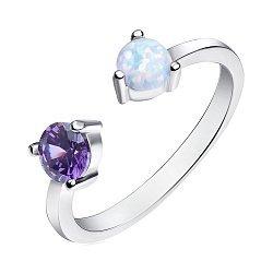 Серебряное кольцо с опалом и фианитом 000139594