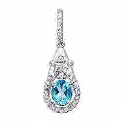 Серебряная подвеска с топазом swіss blue и фианитами 000135426