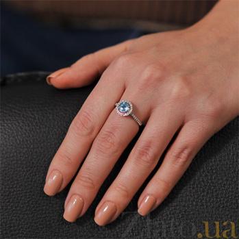 Кольцо из белого золота с топазом и бриллиантами Герцогиня Йоркская EDM--КД7453/1ТОПАЗ