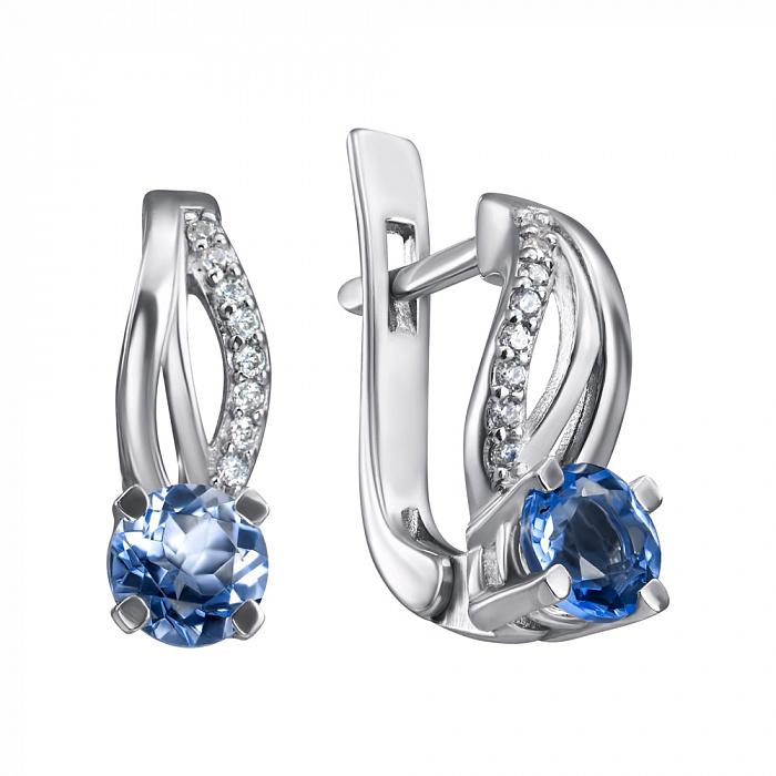 Серебряные серьги Катарина с синим кварцем и белыми фианитами 000114231