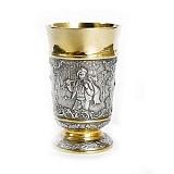 Серебряный стакан с позолотой Охотник