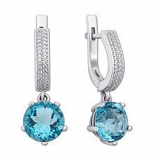 Серебряные серьги-подвески Арника с голубым кварцем и цирконием