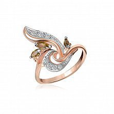 Серебряное кольцо Мартина с оливковыми и белыми фианитами, позолотой
