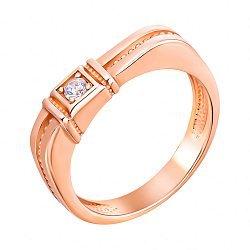 Перстень-печатка из красного золота с фианитом 000134121