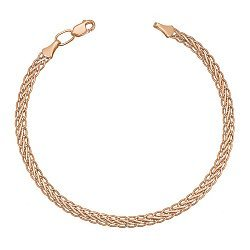 Золотой браслет Шангри в красном цвете плетения колосок, 3мм 000095140
