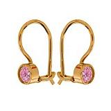 Золотые серьги Беатриче с розовыми фианитами