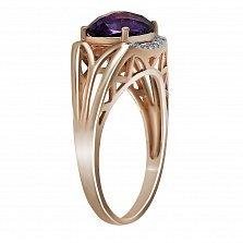 Кольцо из красного золота Ангелина с аметистом и бриллиантами