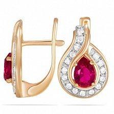 Золотые серьги Сандра с синтезированным рубином и фианитами