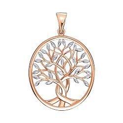 Золотая подвеска Дерево жизни в комбинированном цвете 000138181
