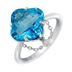 Золотое кольцо в белом цвете с топазом, подвеской-цепочкой и бриллиантом 000114082