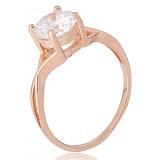 Позолоченное серебряное кольцо с фианитом Айлин