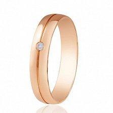 Золотое обручальное кольцо с фианитом Бельведер