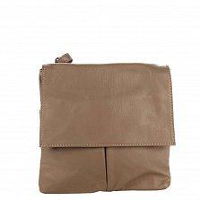 Кожаный клатч Genuine Leather 10017 цвета тауп с застежкой-молнией и клапаном на магнитах