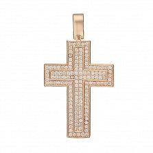 Крестик в красном золоте Путь к цели с фианитами