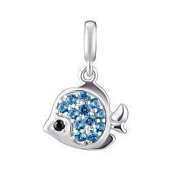 Срібний підвіс-шарм з блакитними і чорними фиантиами 000148245