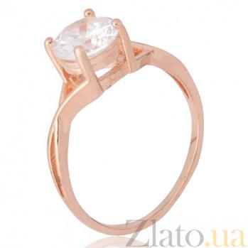 Позолоченное серебряное кольцо с фианитом Айлин 000028196