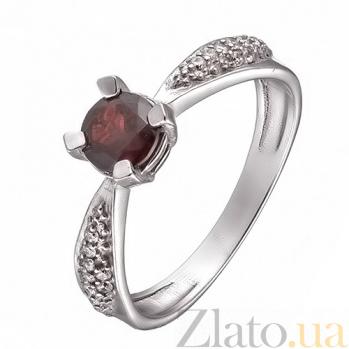 Серебряное кольцо с гранатом и фианитами Анни 1685/9р гран