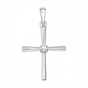 Хрестик у білому золоті з діамантом 000106291