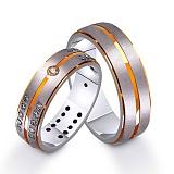 Золотое обручальное кольцо Первый вальс с фианитами