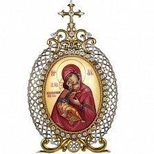Серебряная икона с финифтьевым образом Божьей Матери Владимирской