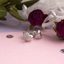 Серебряные пуссеты Родные половинки с фианитами