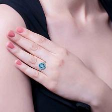 Серебряное кольцо с топазом Лайт блю