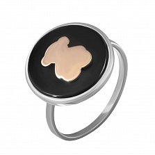 Серебряное кольцо Любимый медвежонок с черным ониксом и золотой накладкой