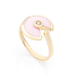 Золотое кольцо Рузанна с розовой керамикой и цирконием в стиле Картье