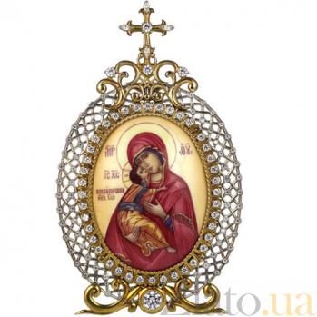 Серебряная икона с финифтьевым образом Божьей Матери Владимирской 2.78.0025