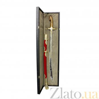 """Сувенирная латунная сабля """"Пересвет"""" в позолоте, с деревянной рукояткой из ореха в форме богатыря 000097412"""