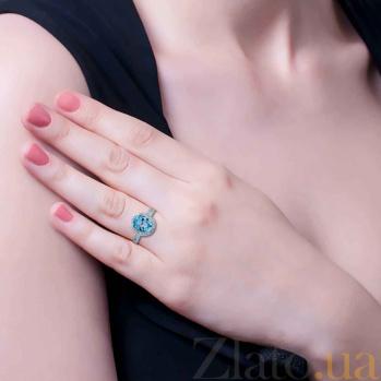 Серебряное кольцо с топазом Лайт блю AQA--R00827T