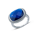 Серебряный перстень с синим цирконом Сила небес