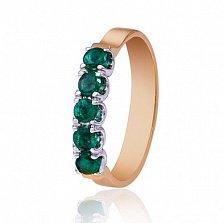 Золотое кольцо Симфония с изумрудами
