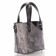 Миниатюрная кожаная сумка Genuine Leather 8671 серебристо-серого цвета с тиснением, на кулиске