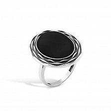 Серебряное черненое кольцо Марсела с жабо и имитацией оникса