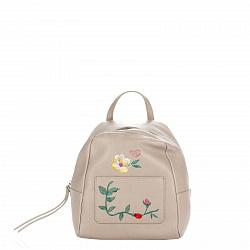 Кожаный рюкзак Genuine Leather 8710 цвета тауп с декоративной вышивкой