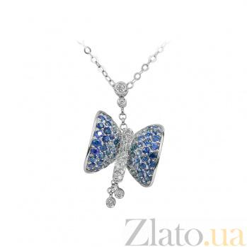 Золотое колье с бриллиантами и сапфирами Butterfly 1Л042-0005