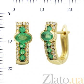 Серьги из желтого золота Аделаида с изумрудами и бриллиантами 000081186