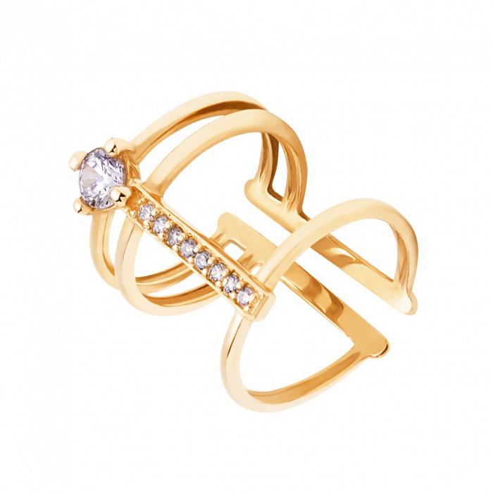 Фаланговое кольцо из желтого золота с фианитами 000135356 000135356